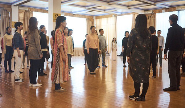 participants in Walking the dog Theater's inner development workshop